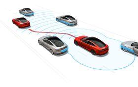 Tesla Autopilot leser trafikken rundt seg, og kan selv avgjøre hvordan den best tar seg frem. Systemet er også en integrert del av Teslas sikkerhetspakke.
