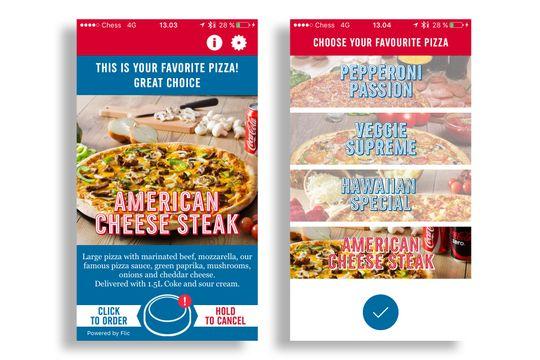 Med Dominos egen app kunne vi bestille pizza med Flic, utenom det er du avhengig av SMS-bestilling for at det skal fungere.