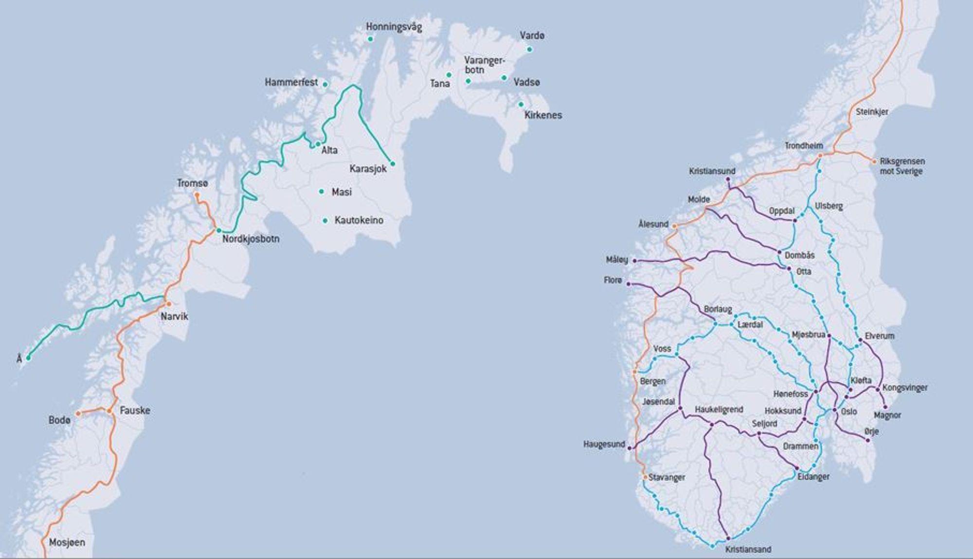 Enovas hurtigladerkart. Veiene i lilla, utlyst i mai, skal bygges av Fortum og Grønn Kontakt. Veiene i blått ble utlyst i september 2015, veiene i oransje ble utlyst i januar i år, mens de i grønt lyses ut nå. Kart: Enova