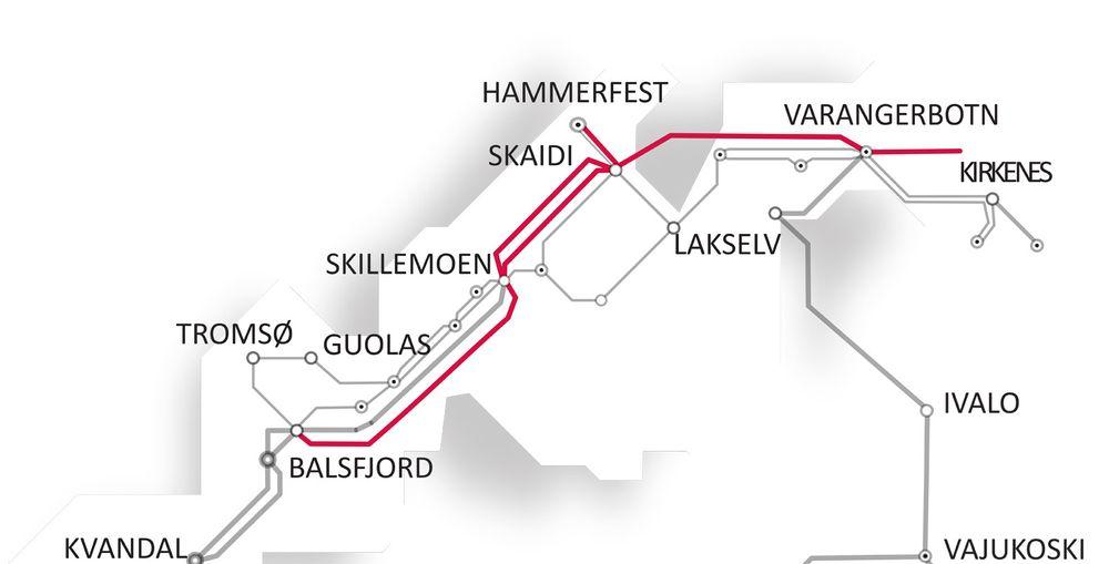 En forsterking av nettet til Øst-Finnmark kan gjøres ved å bygge linje videre fra Skaidi vest i fylket og dublere linjen mellom Balsfjord og Skaidi.