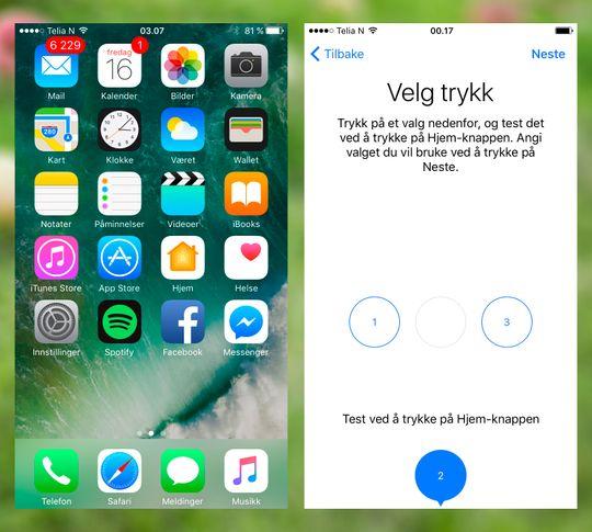 iOS 10 ser ut omtrent som før, men skjuler mange fine nyheter. En av de mer spesielle nyhetene i iPhone 7 er hjemknappen som ikke lenger er fysisk, men en sensorplate som får telefonen til å vibrere. Det føles som et trykk, men det platen flytter seg ikke.