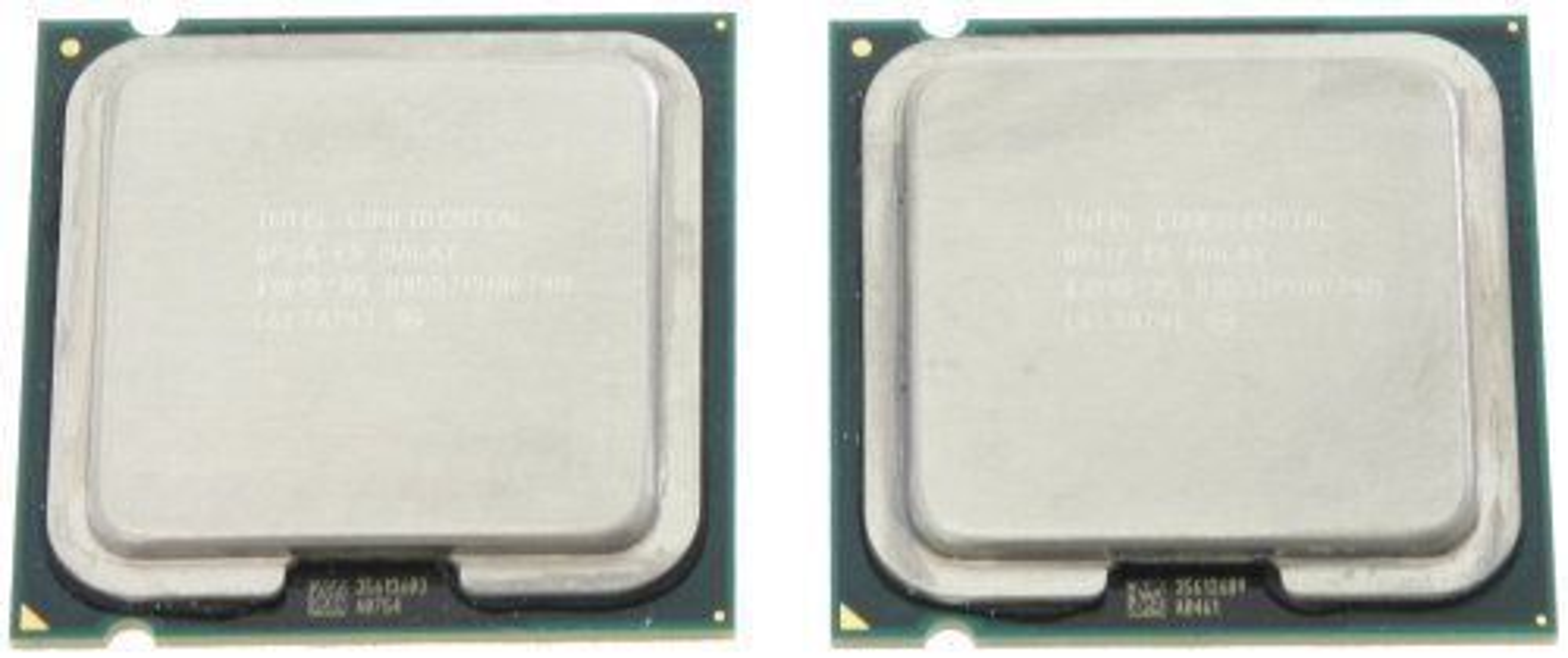 <em>Core 2 Duo E6700 til venste, Core 2 Extreme X6800 til høyre.</em>