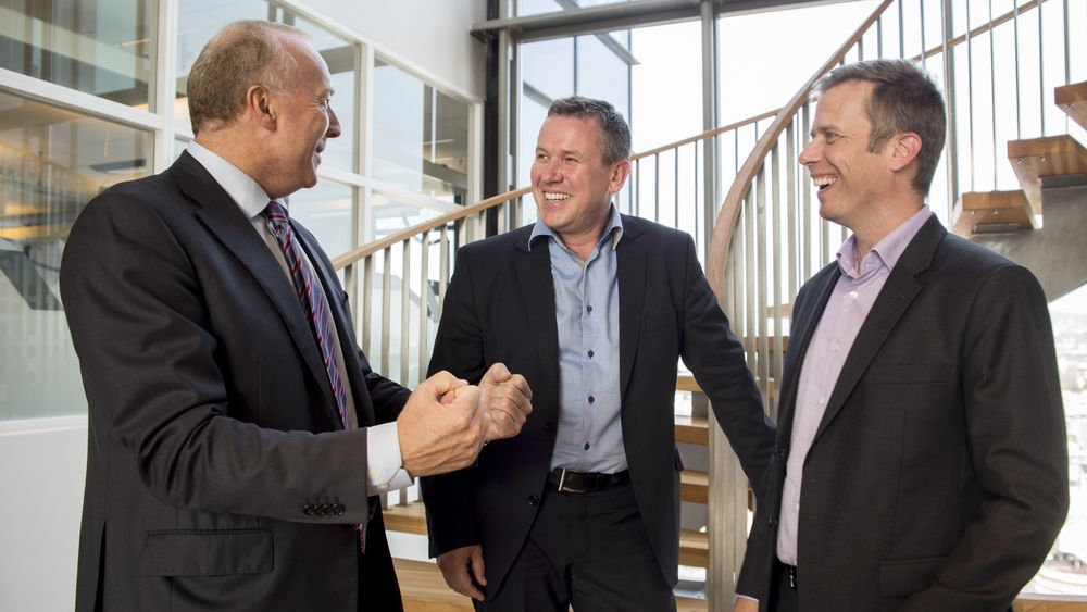 Satser på SAP: Fra v. Sopra Steria-topp Kjell Rusti, daglig leder Syver Anmarkrud og økonomiansvarlig Tom Karlsen, begge fra Solid Group.