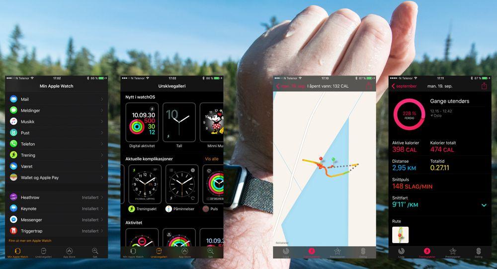 Du holder oversikt over det meste fra telefonen. To apper gjelder, nemlig aktivitetsappen, og den som bare heter Watch.