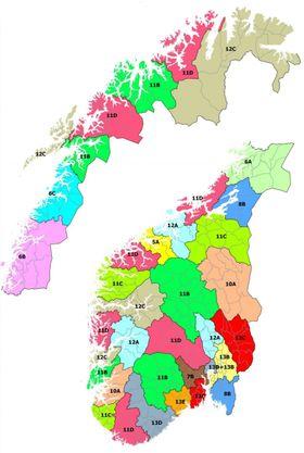 Lokalblokka: Oversikten over hvordan Norge er delt opp i lokalområder for DAB+-sendinger er litt av et lappeteppe og diametralt forskjellig fra Riksblokk 1.