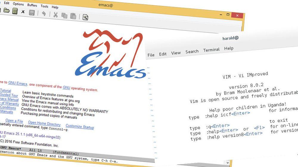 Både VIM og Emacs har for første gang på flere år kommet i helt nye versjoner. På bildet vises VIM i et Linux-terminalvindu og Windows-utgaven av Emacs.
