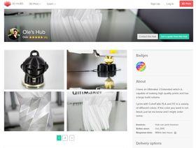 På 3DHubs kan du undersøke hva andre kunder synes om jobben de har fått utført fra ulike «hubs». Det fremgår også om «hub-en» tilbyr hjelp med design og modellering, eller bare sørger for 3D-skrivingen, slik «Oles hub» gjør.