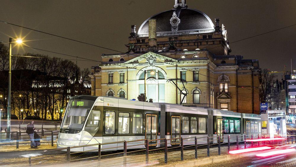 Mulig ny Oslotrikk: Siemens har tatt seg bryet med å montere  et bilde av trikken inn i Oslomiljøet. Vinner de kan dette blir en realitet om noen år.