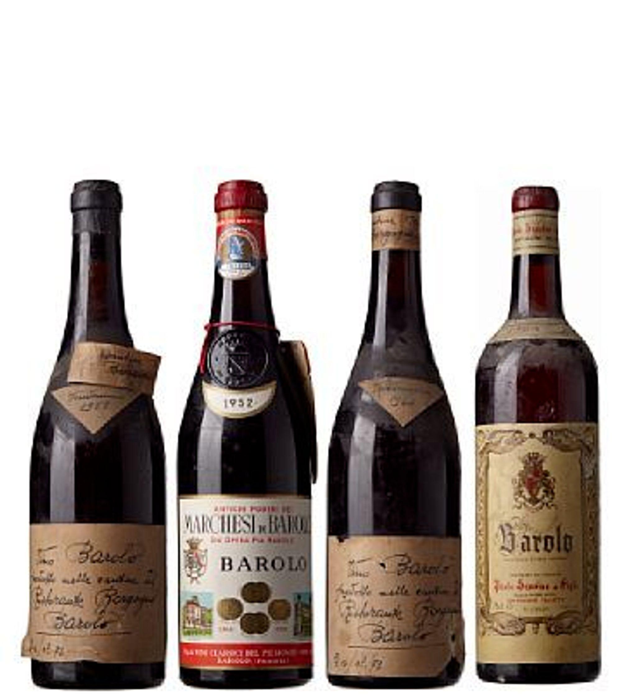 Et av mange auksjonsobjekter: 4 X Miks Barolo (`52 Marchesi Di Barolo, `64 Scavino, `58 + `64 Borgogno).