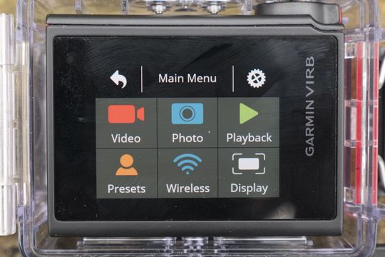 Slik ser hovedmenyen på Virb Ultra 30 ut.