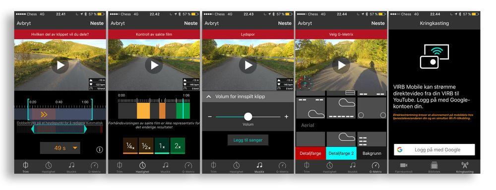Garmin har forbedret redigeringsdelen av appen, og vi kan til og med bruke den for å strømme direktevideo til YouTube.