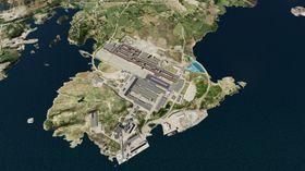 Pilotanlegget på Karmøy utgjør ikke mye av Hydros anlegg. Det er her tegnet inn midt på bildet.