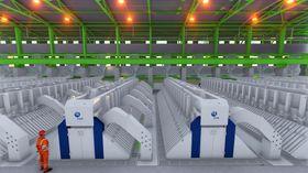 Slik vil hallen til Hydro Karmøy Pilot se ut med 48 HAL4e-celler og 12 HAL4e Ultra-celler.