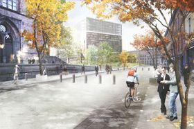 Oppleves åpent: Målet er at fotgjengere og syklister skal kunne ferdes fritt i det nye regjeringskvartalet. Biler skal derimot holdes langt unna regjeringsbyggene.⇥ Illustrasjon: SLA / Statsbygg.