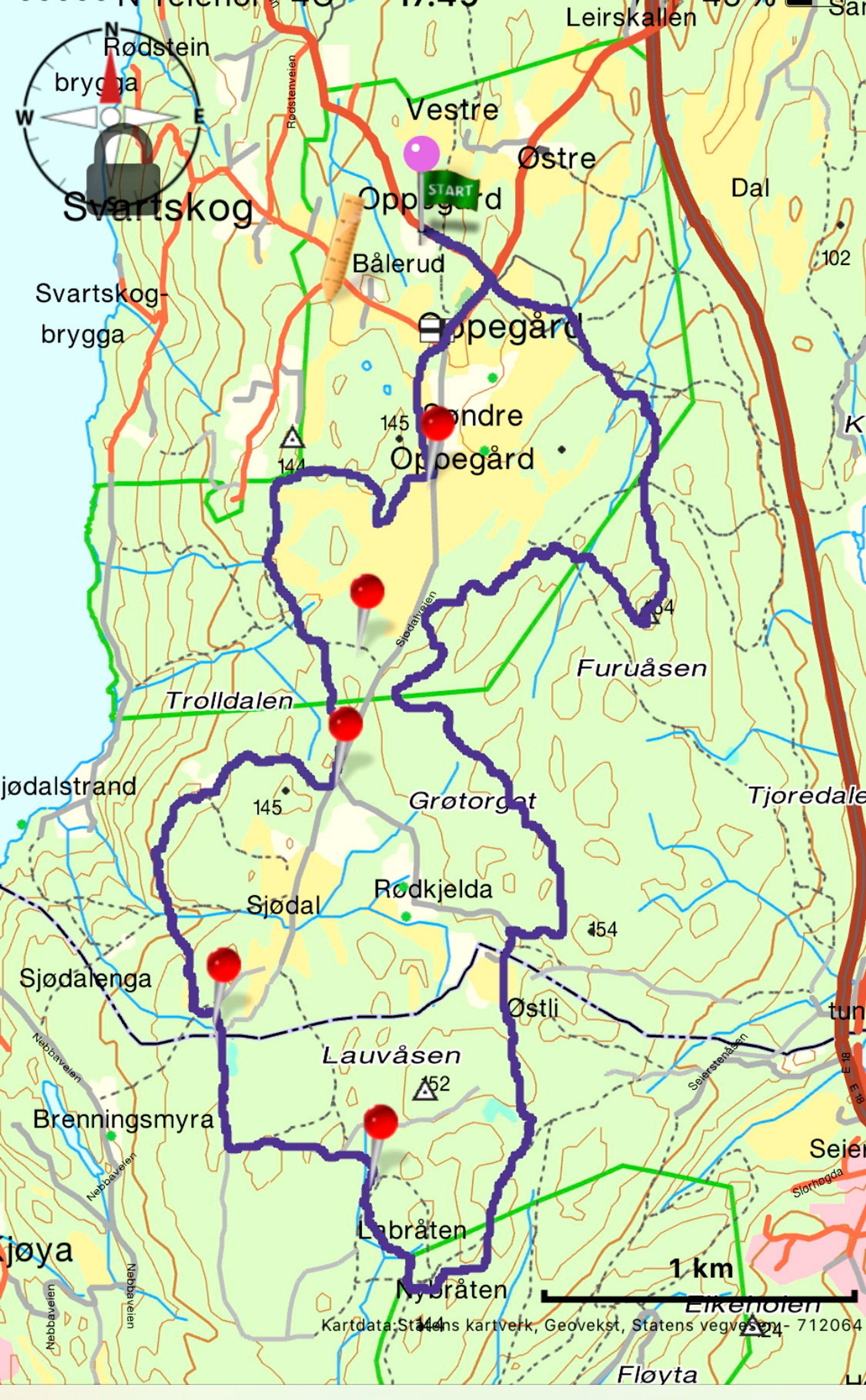 LØYPEKART: Klikk på bildet for høyoppløselig og større versjon av løypekartet for Svartskogløpet.