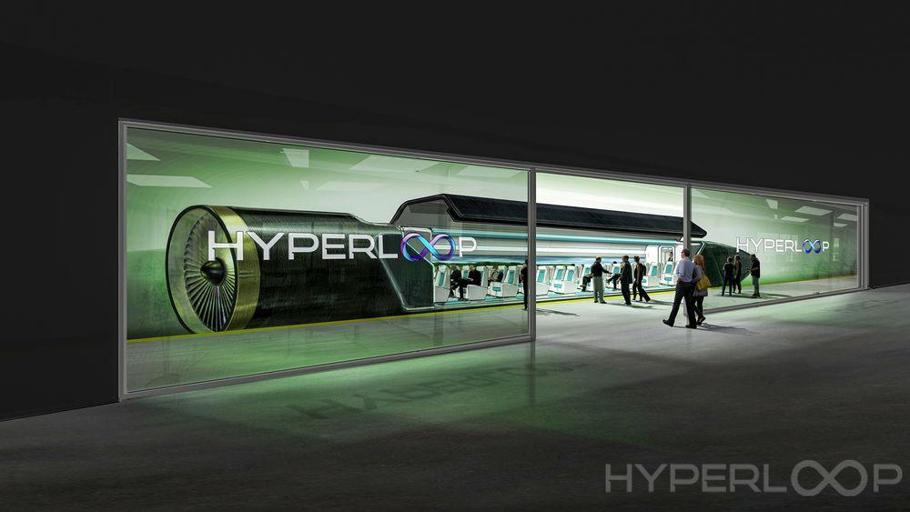 Ta plassene: Slik ser Hyperloop One for seg en stasjon i fremtiden.