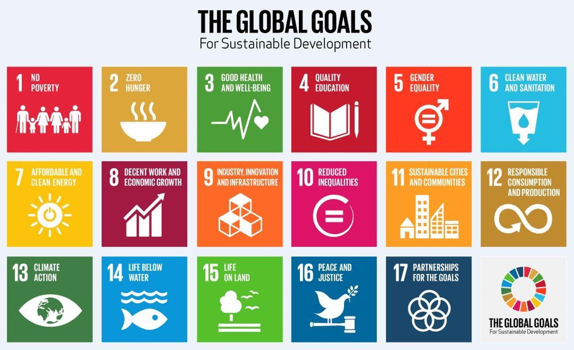 De 17 globale målene.