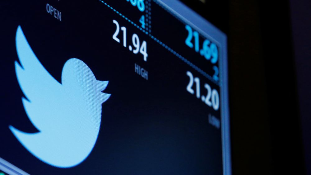 The Twitter logo and trading information is displayed just after the opening bell on a screen on the floor of the New York Stock Exchange (NYSE) in New York City, U.S., September 23, 2016.  REUTERS/Brendan McDermid