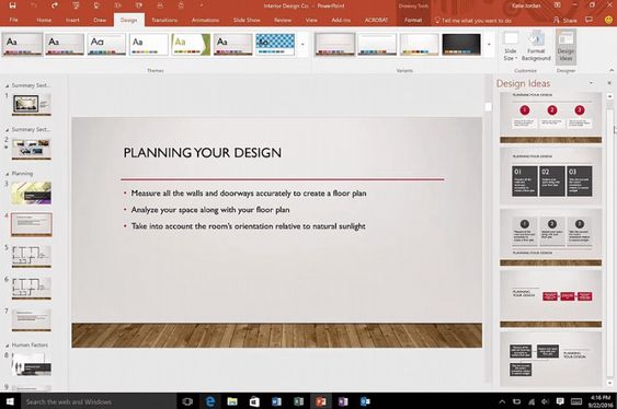 Designer-funksjonen i PowerPoint er forbedret.