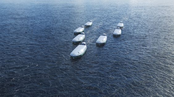Autonome fartøy som seiler i konvoy i ett av Wärtsiläs framtidscenarier.