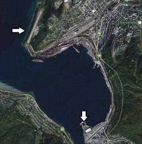 Flyplassen er merket med pilen øverst og plassering av LNG-terminal ved pilen nederst. Dersom det bygges LNG-anlegg eller annen industri med behov for gass, vil det legges en rørledning på havbunnen.