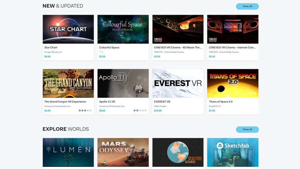 Slik ser den nye VR-appbutikken ut.