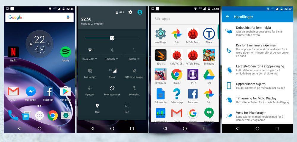 I det store og det hele er det ikke mye Motorola har gjort med Android-varianten de har puttet inn i Moto Z. En app har de fleste av tilpasningene i seg, og resten finner du i innstillingsmenyen.