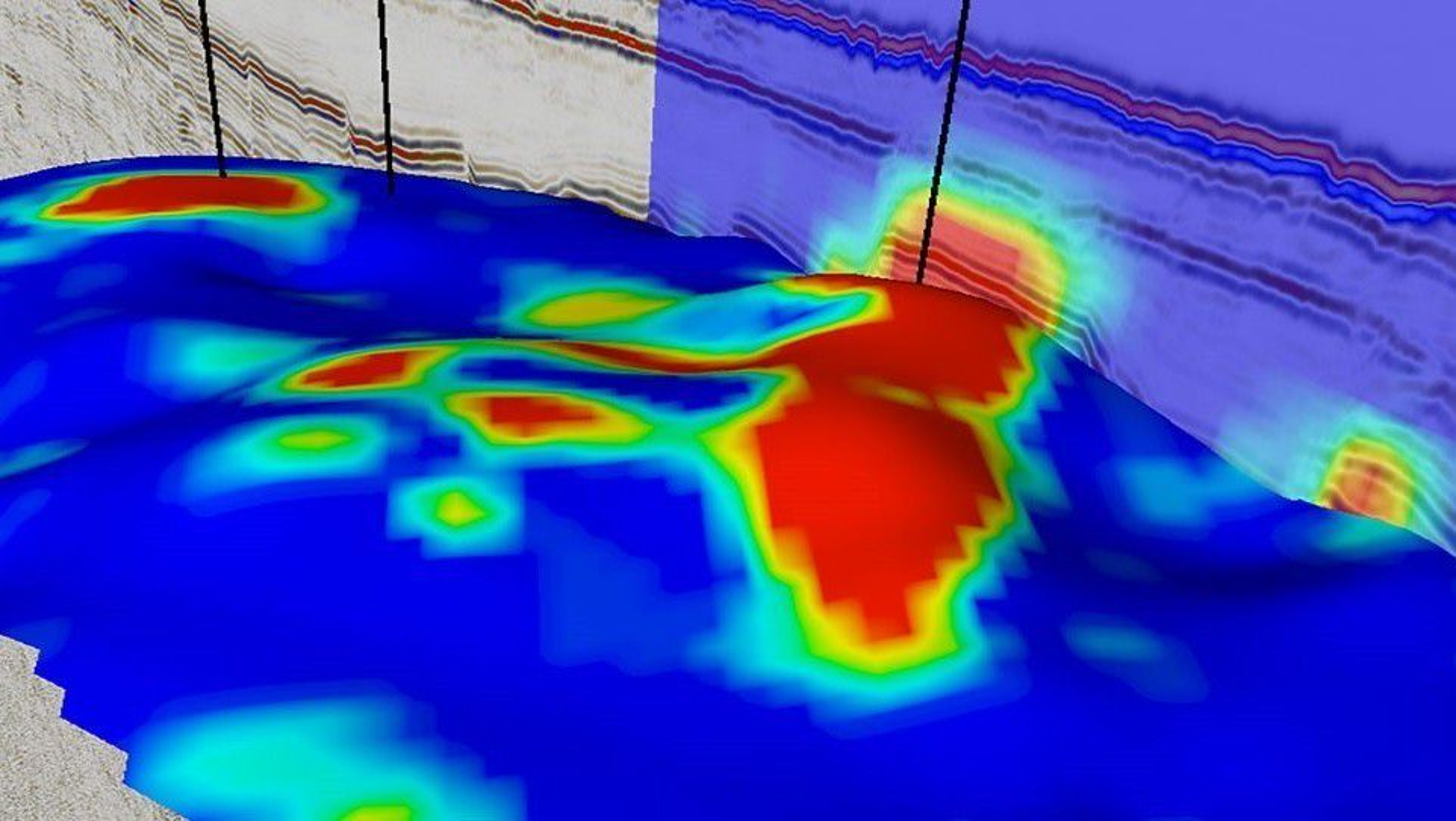 Den røde fargen indikerer høy elektrisk motstand, som er tegn på at det kan finnes olje. Bildet er fra Wistingområdet i Barentshavet.