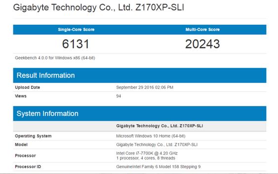 Denne GeekBench-rapporten som angivelig viser ytelsen til Core i7-7700K-prosessoren har funnet veien til internett.