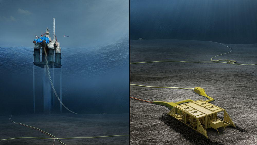 Slik ser operatøren DEA for seg at undervannsmodulene på Dvalin-feltet vil føre gass til Heidrun-plattformen.
