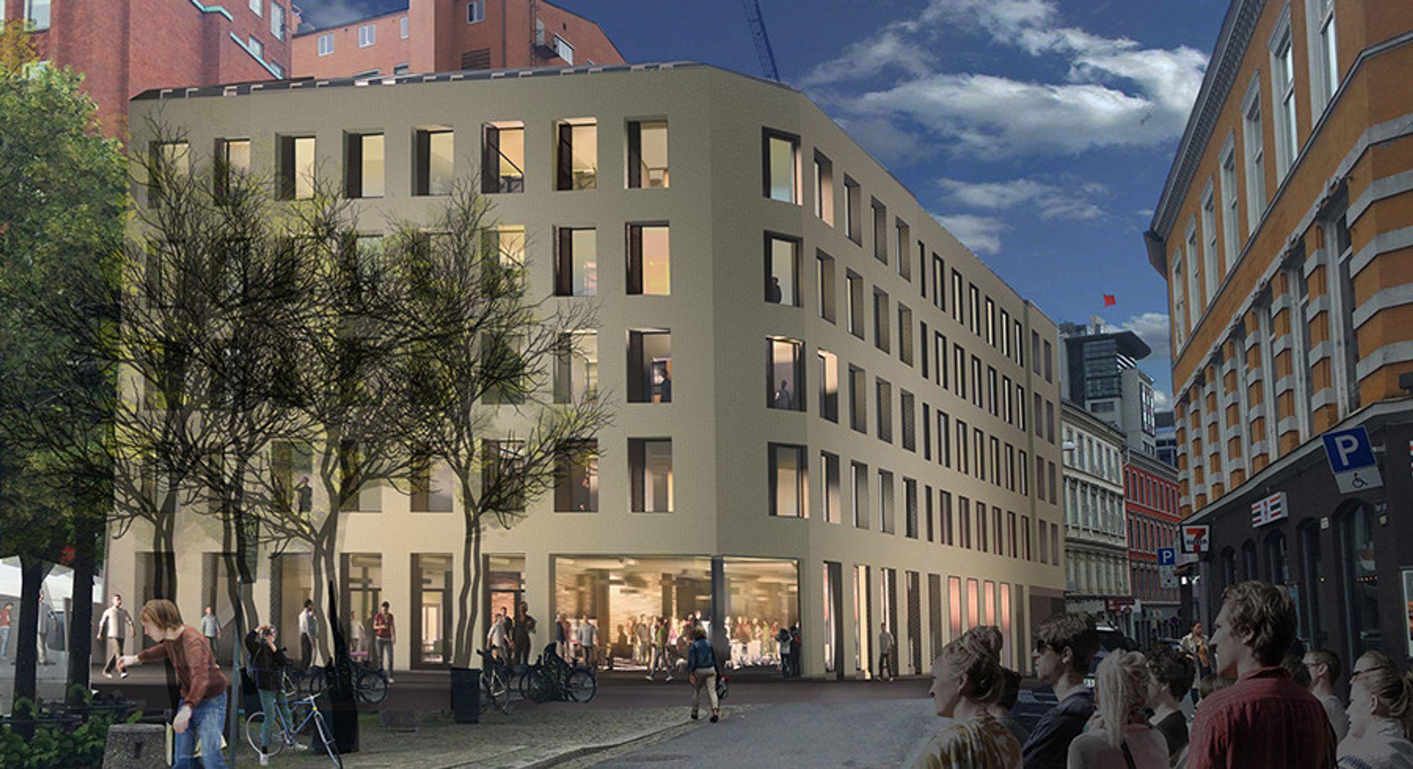 Slik vil Youngstorget 3 se ut når det står klart i 2018. Bygget skal kjøles med fjernvarme fra Hafslund.