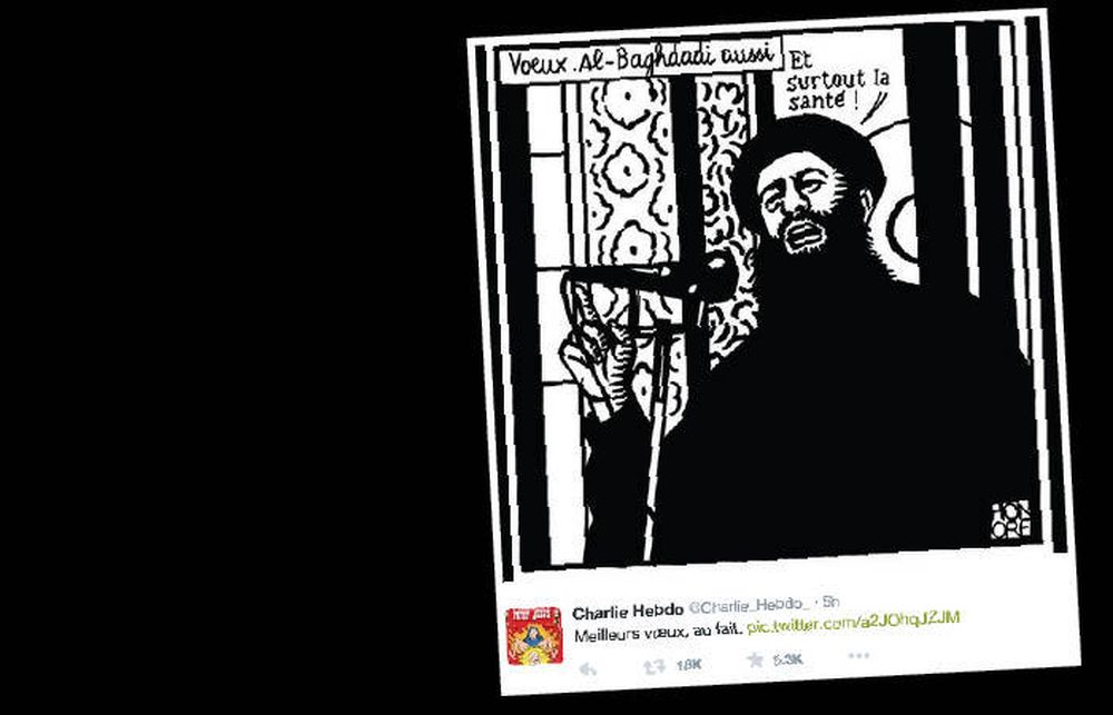 TVITRET IS-SATIRE: Senest i formiddag tvitret Charlie Hebdo en satire av IS-lederen al Baghdadi.