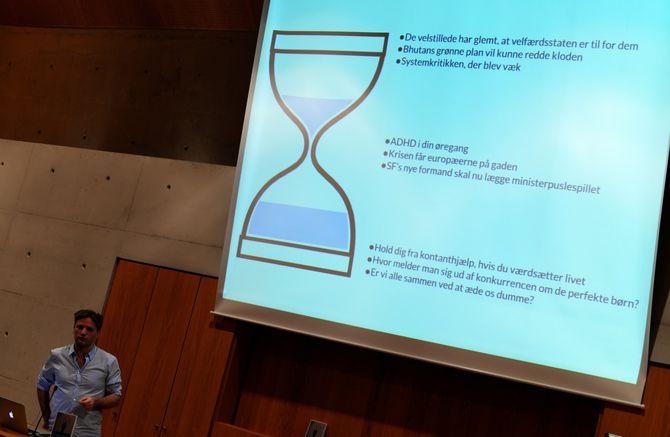 Nicolai Thyssens timeglass for å vise hvilke type saker som går godt i sosiale medier.