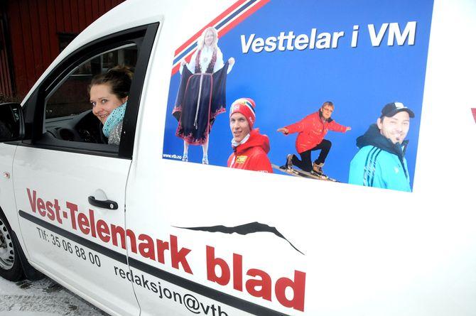 Randi Berdal Hagen på veg til VM i Falun.