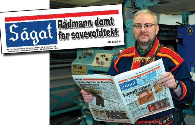 Geir Wulff, redaktør og daglig leder i Ságat - og faksimile av forside. (Foto: Ságat)