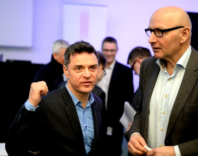 SCHIBSTED: Aftenpostens publisher Espen Egil Hansen og Schibsted Norge-sjef Didrik Munch. (Arkivfoto)