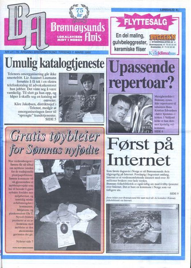 Papiravisen for 20 år siden, med en notis om Internett.