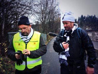 LANGTUR: Ove Mellingen (t.v.) og Eirik Haugen gikk fra Skien til Oslo før Odds cupfinale høsten 2014.