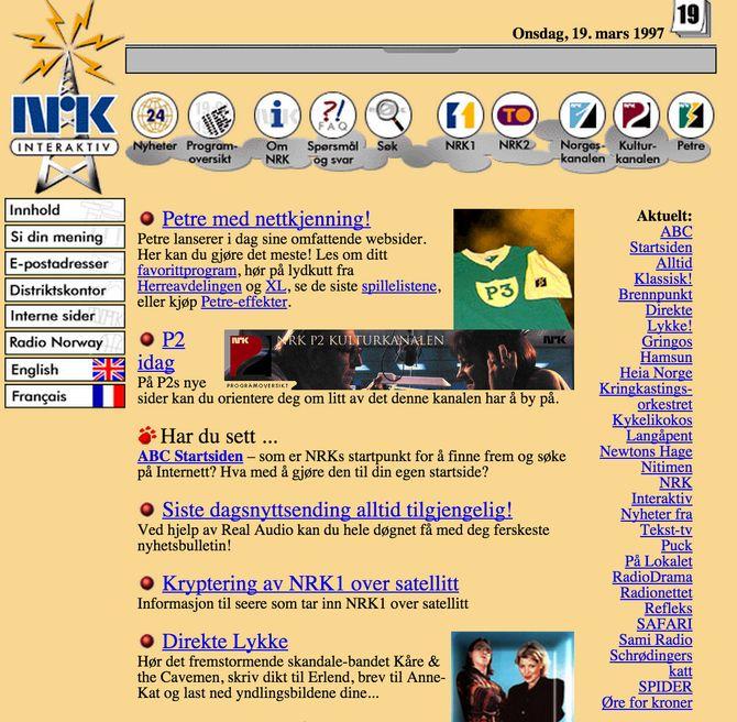 SLIK SÅ NRK.no ut i 1997. Skal vi gå tilbake dit igjen?
