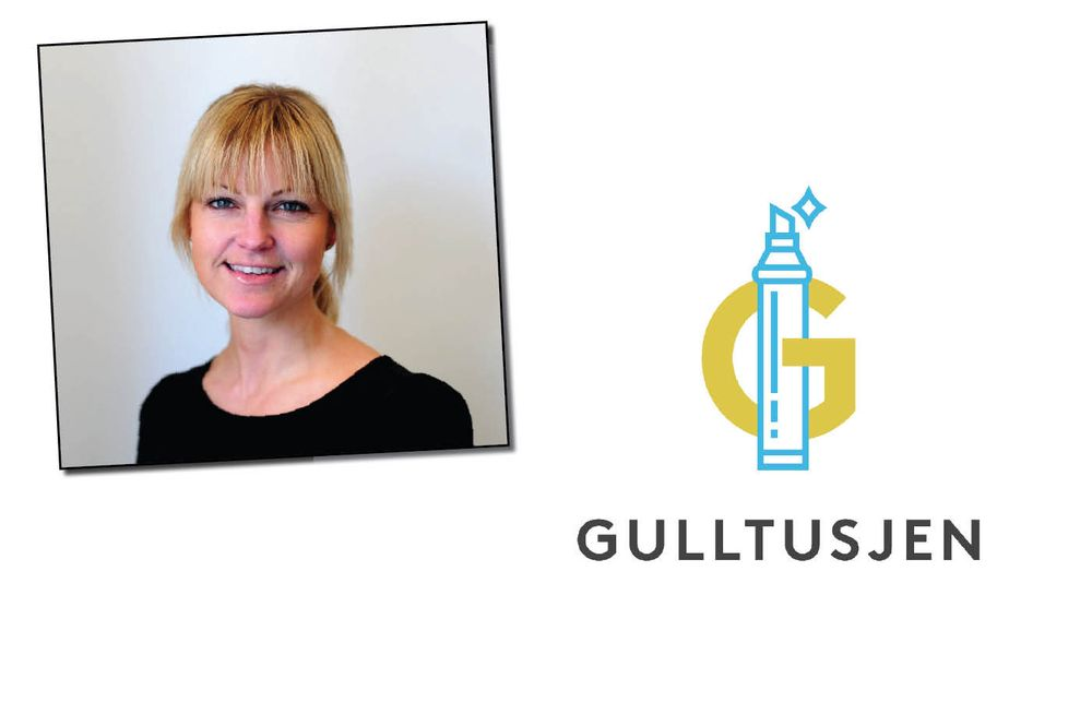 Gulltusjens logo, og Marie Sundling, leder for Produkt, Marked og Analyse i Amedia Salg og Marked.