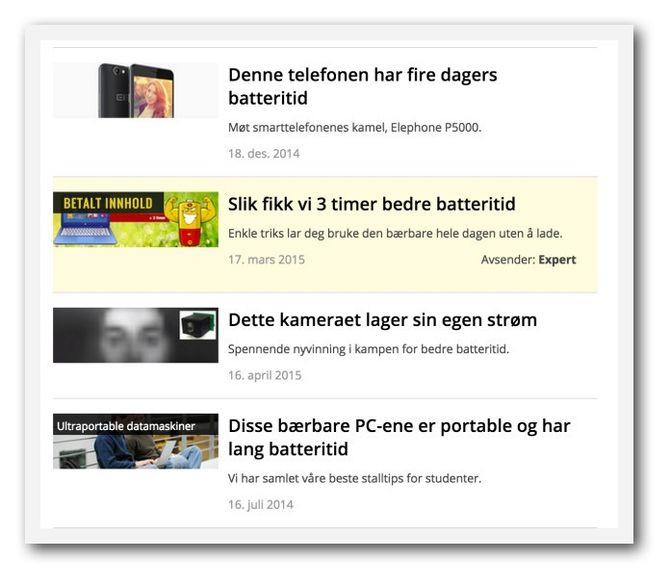 Innholdsmarkedsføringen merkes slik i søkeresultater.