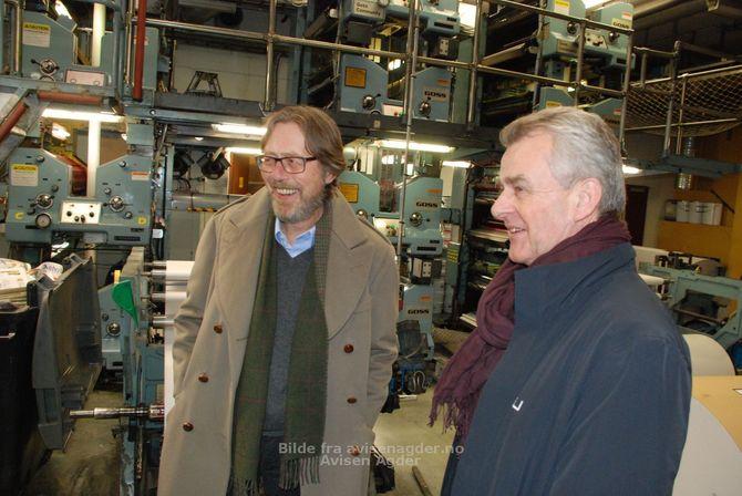 Styrelederne Reidar E. Stockfleth i Agder og Ivar Rusdal i Nordsjø Media er begge tilfredse med at Agder trer inn i Nordsjø Media. (Foto: Svein Løvland, Avisen Agder)