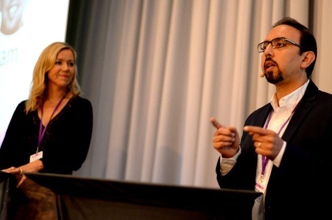 Tarek Atia intervjues av programleder og VG-redaktør Jane Throndsen.
