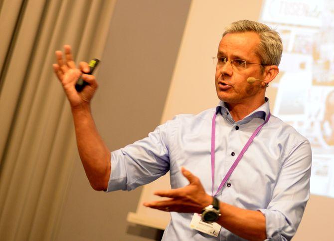 ESPEN ASHEIM - adm. direktør i Egmont Publishing. Her under Nordiske Mediedager i Bergen våren 2015.