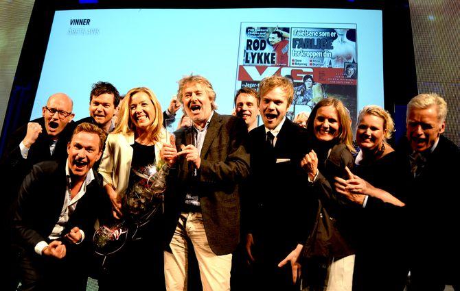 SLIK FEIRET VG da de fikk kveldens siste pris; Årets avis!