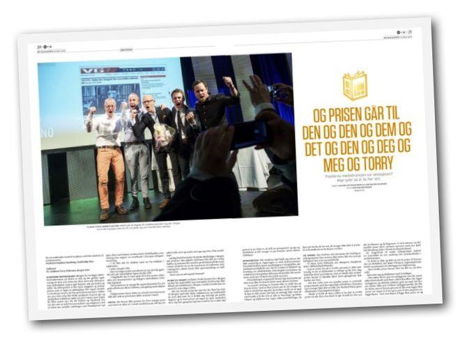 DNs ti sider lange lørdagsreportasje om alle medieprisene.