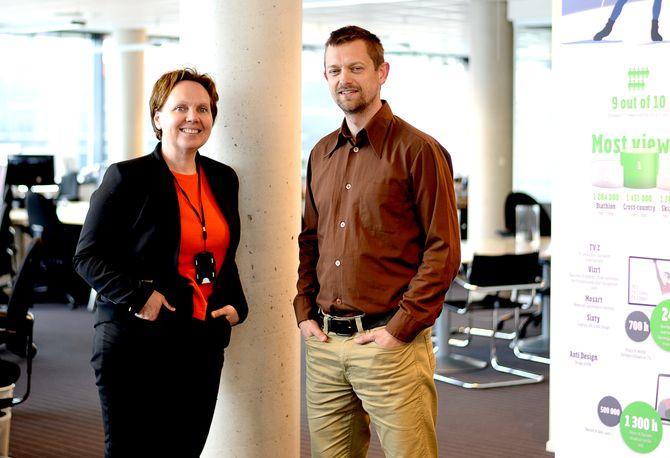 Daglig leder Anne Jacobsen og prosjektleder Rune Smistad i NCE Media Bergen.