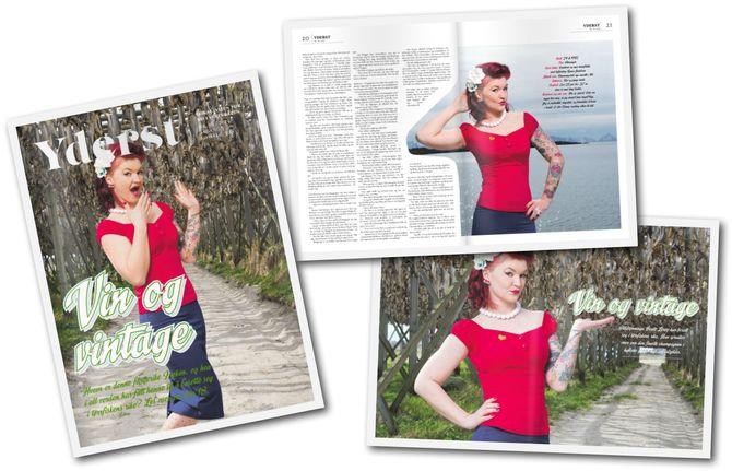 REPORTASJER, FOTO OG DESIGN er viktig for lokalavisa, som lages i magasinformat. Her faksimiler fra siste utgave.