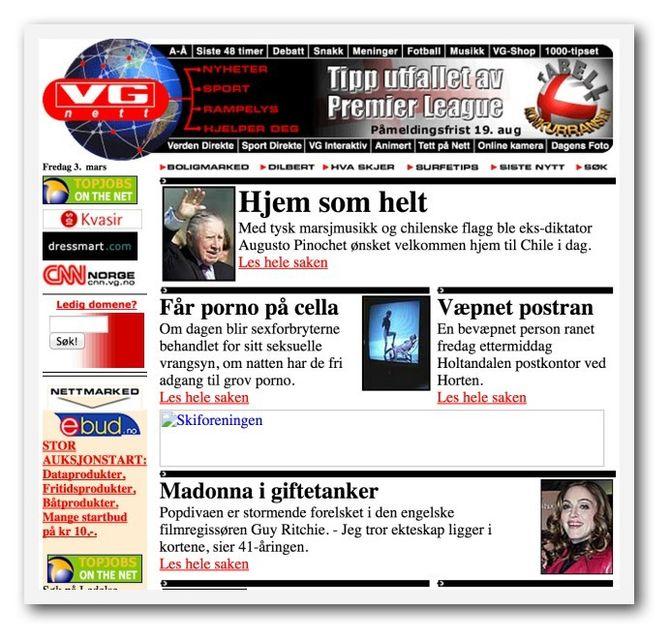 SLIK SÅ VG Nett ut i 2000, ifølge «The Internet Wayback Machine».