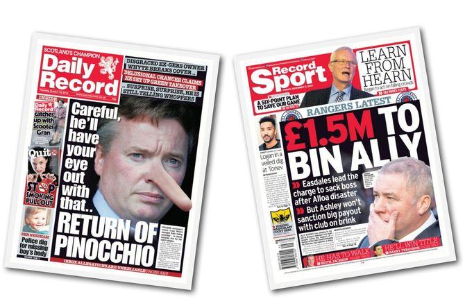 BRITISKE TABLOIDER leverer stadig gull på forsiden. Her er noen av Daily Record sine tabloide sider. For øvrig er det bare å google «The Sun». (Faksimiler)